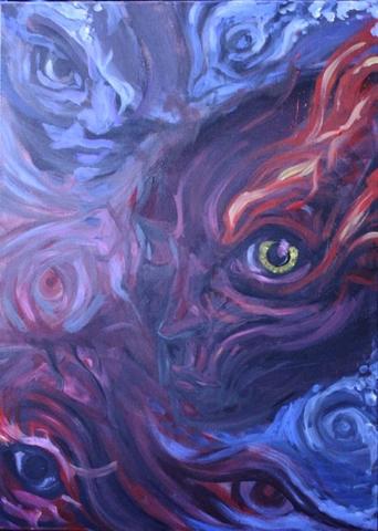 Nachtwache Dämon Acryl Leinwand Malerei Painting demon Eyes auge