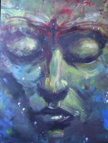 Sternentänzer gesicht portrait malerei space nebula weltall sterne